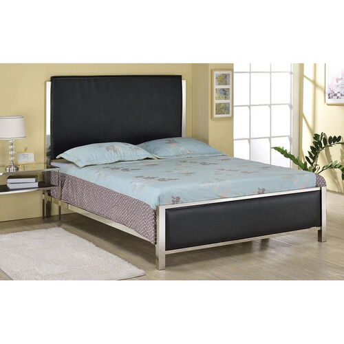 Our Johanna Crocodile Faux Leather Bed with Nickel Frame - Queen - Black is on sale now.