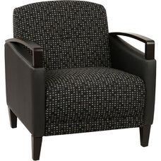 Ave Six Main Street 2-Tone Custom Lounge Chair with Espresso Finish Legs - Onyx Fabric and Black Vinyl