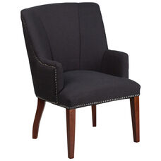 HERCULES Sculpted Comfort Series Black Fabric Side Reception Chair