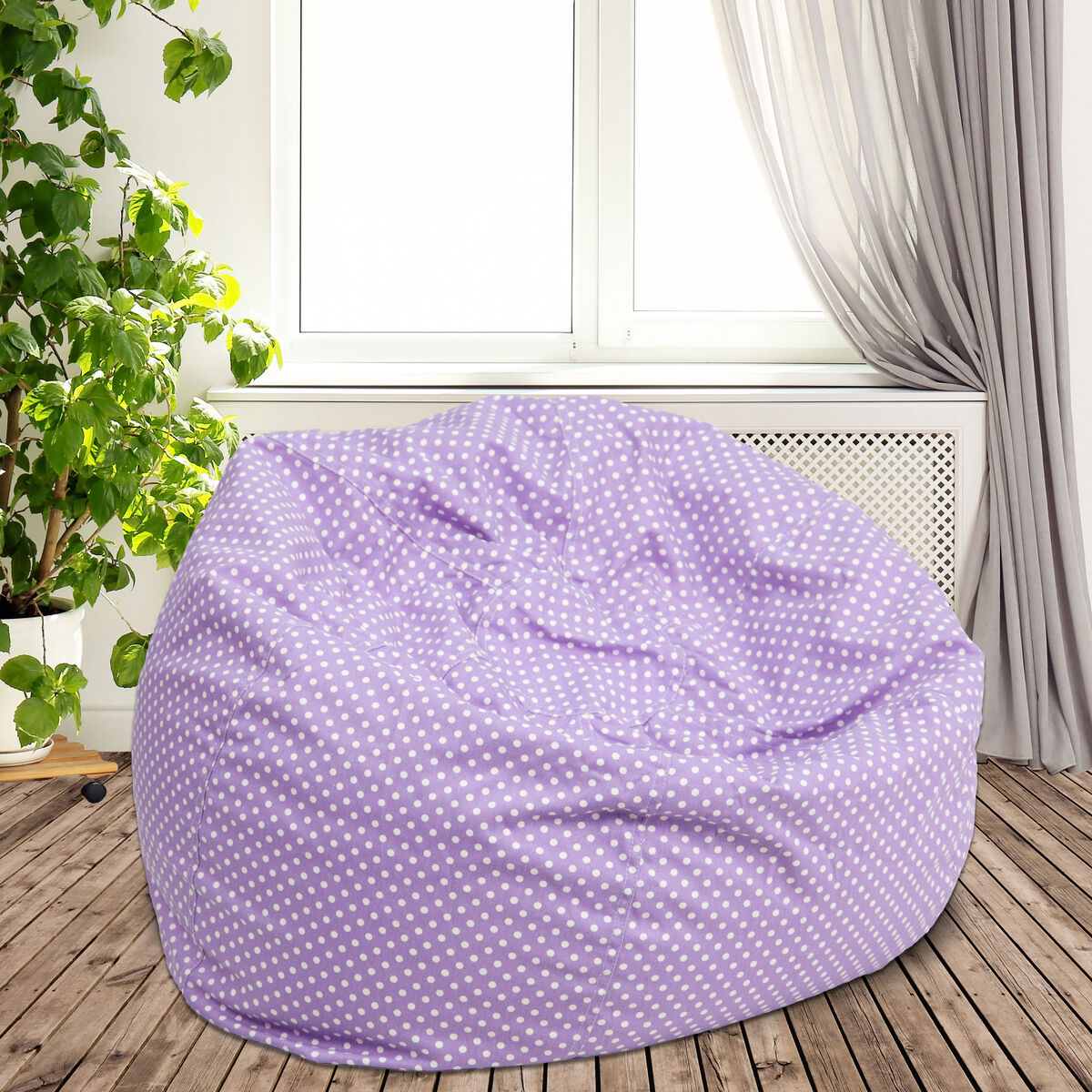 Phenomenal Oversized Lavender Dot Bean Bag Chair For Kids And Adults Machost Co Dining Chair Design Ideas Machostcouk