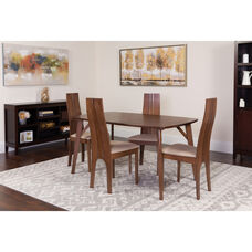Kensington 5 Piece Walnut Wood Dining Table Set with Padded Wood Dining Chairs