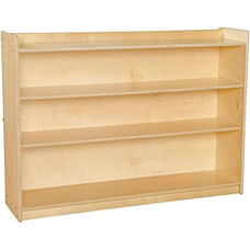 Contender Adjustable Three Shelf Wooden Bookcase with Lip - Unassembled - 46.75