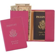 RFID Blocking Foil Stamped Passport Jacket - Top Grain Nappa Leather - Wildberry
