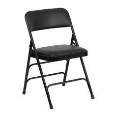HERCULES Series Curved Triple Braced & Double-Hinged Black Vinyl Metal Folding Chair