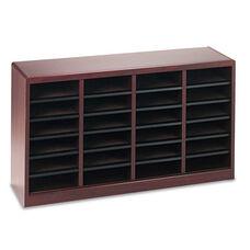 Safco® Wood/Fiberboard E-Z Stor Sorter - 24 Sections - 40 x 11 3/4 x 23 - Mahogany