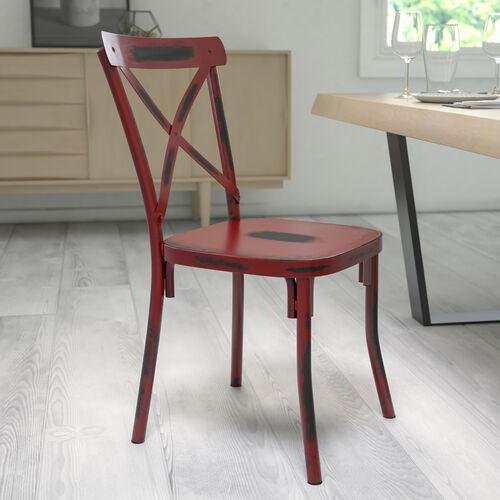 Rustic Distressed Metal Cross Back Chair (Red)