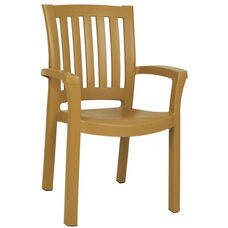 Sunshine Outdoor Resin Stackable Dining Arm Chair - Teak Brown