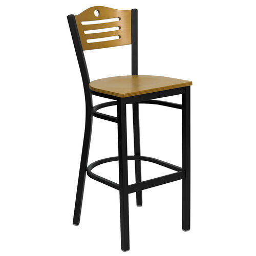 Our Black Slat Back Metal Restaurant Barstool with Natural Wood Back & Seat is on sale now.