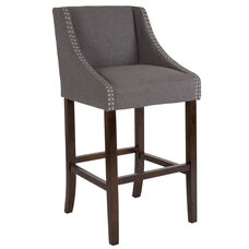 "Carmel Series 30"" High Transitional Walnut Barstool with Accent Nail Trim in Dark Gray Fabric"