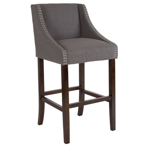 "Our Carmel Series 30"" High Transitional Walnut Barstool with Accent Nail Trim is on sale now."
