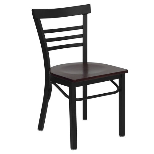 Our HERCULES Series Black Three-Slat Ladder Back Metal Restaurant Chair - Mahogany Wood Seat is on sale now.