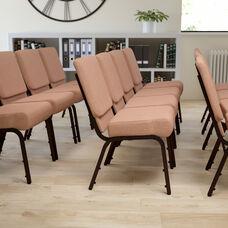 HERCULES Series 21''W Stacking Church Chair in Caramel Fabric - Copper Vein Frame