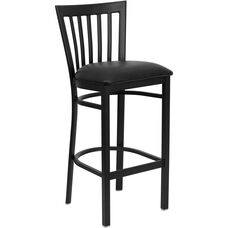 Black School House Back Metal Restaurant Barstool with Black Vinyl Seat