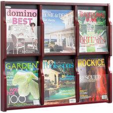 Expose™ Six Magazine Twelve Pamphlet Display with Plastic Front Panel - Mahogany