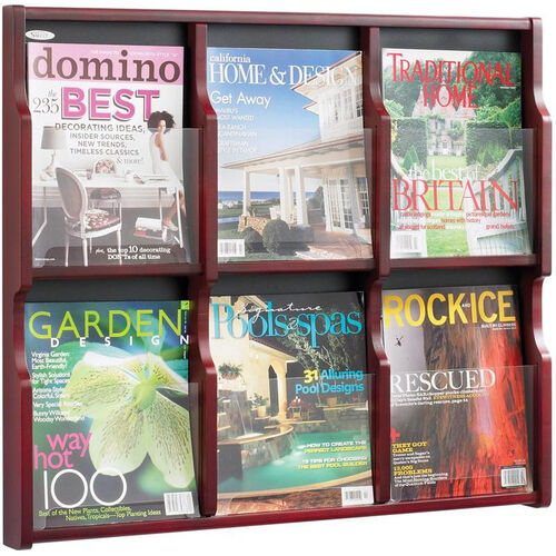 Our Expose™ Six Magazine Twelve Pamphlet Display with Plastic Front Panel - Mahogany is on sale now.
