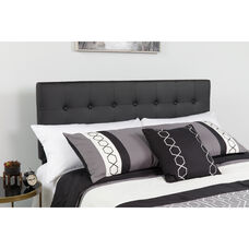 Lennox Tufted Upholstered Twin Size Headboard in Black Vinyl