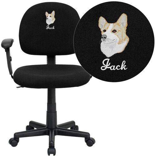 Embroidered Mid-Back Black Fabric Swivel Task Office Chair with Adjustable Arms