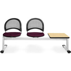 Moon 3-Beam Seating with 2 Burgundy Fabric Seats and 1 Table - Oak Finish