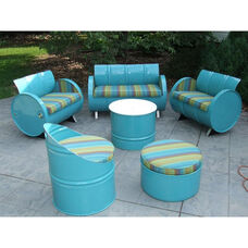 Laguna Indoor Steel Drum 6 Piece Conversation Set with Multicolor Accents