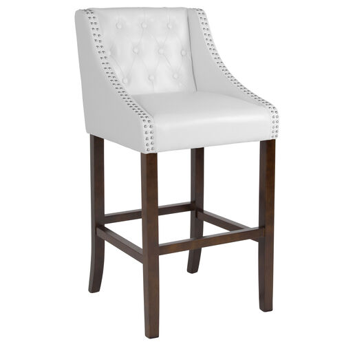 "Our Carmel Series 30"" High Transitional Tufted Walnut Barstool with Accent Nail Trim in White Leather is on sale now."