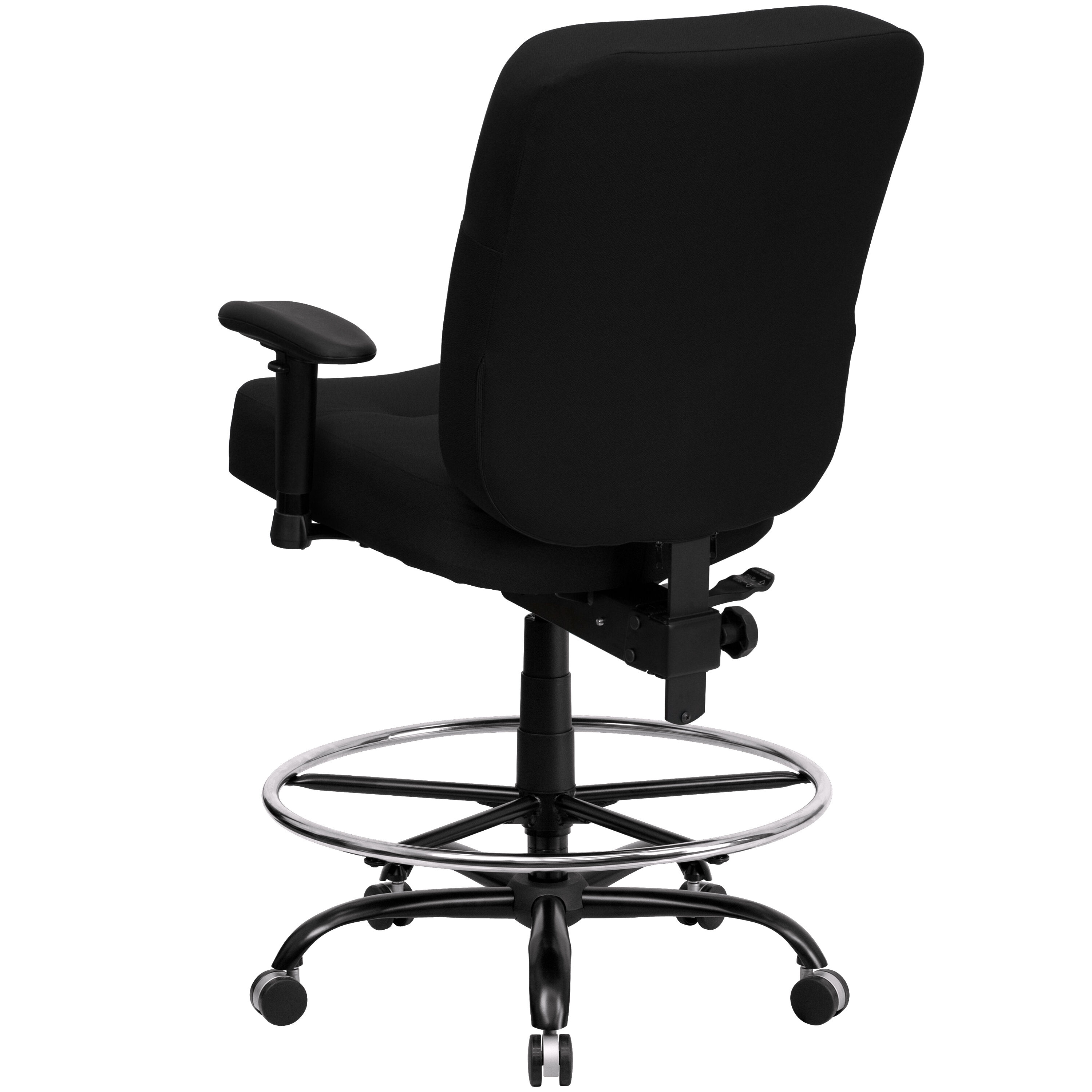 ... Our HERCULES Series Big U0026 Tall 400 Lb. Rated Black Fabric Drafting Chair  With Rectangular ...