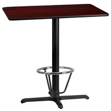 24'' x 42'' Rectangular Mahogany Laminate Table Top with 23.5'' x 29.5'' Bar Height Table Base and Foot Ring