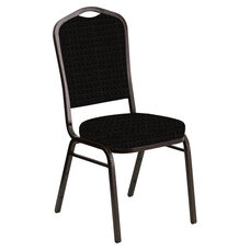 Crown Back Banquet Chair in Jewel Onyx Fabric - Gold Vein Frame