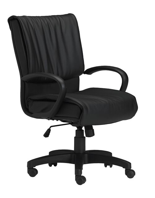 Mercado Adjustable Height Leather Arm Chair with Loop Arms - Black
