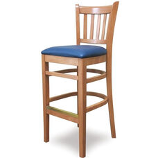 Grill Vertical Back Wood Bar Stool - Grade 1 Upholstered Seat