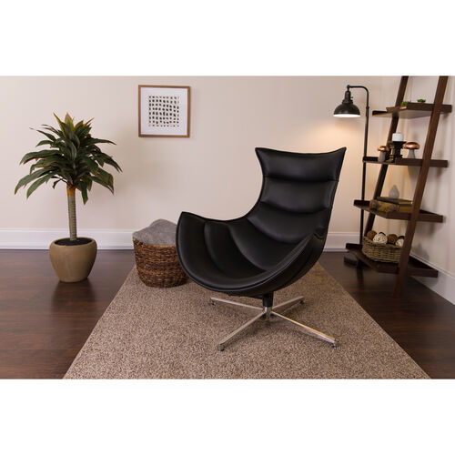 Our Black LeatherSoft Swivel Cocoon Chair is on sale now.