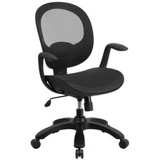 Mid-Back Transparent Black Mesh Swivel Task Chair with Seat Slider, Ratchet Back and Arms
