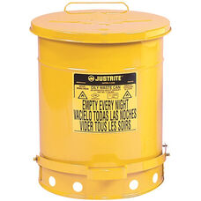 14 Gallon Steel Foot-Operated Oily Waste Can - Yellow