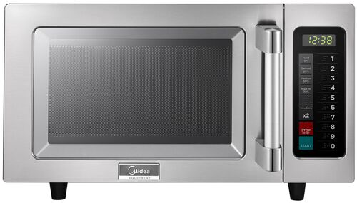Midea Stainless Steel 1000 Watt Commercial Grade Microwave with Push Button Timer