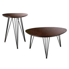 Bannock Mid Century Modern Industrial 2 Piece Accent Table Set with Black Hairpin Metal Legs - Dark Tobacco