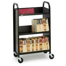Single Sided Duro Book Truck with Slanted Shelves - 26