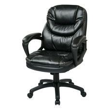 Work Smart Faux Leather Managers Chair with Padded Loop Arms - Black
