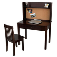 Kids Wooden Writing and Study Desk with Bulletin Board Hutch, Display Shelf, and Matching Chair - Espresso