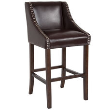 "Carmel Series 30"" High Transitional Walnut Barstool with Accent Nail Trim in Brown LeatherSoft"