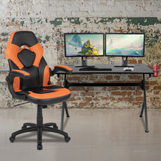 BlackArc Black Gaming Desk and Orange/Black Racing Chair Set with Cup Holder, Headphone Hook & 2 Wire Management Holes