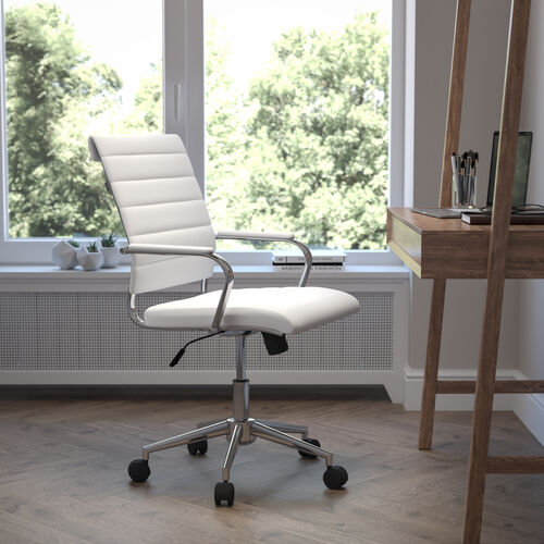 Mid-Back Armless White LeatherSoft Contemporary Ribbed Executive Swivel Office Chair