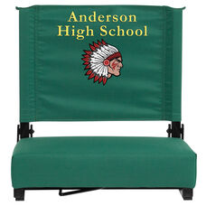 Personalized Grandstand Comfort Seats by Flash - 500 lb. Rated Stadium Chair with Handle & Ultra-Padded Seat, Hunter Green