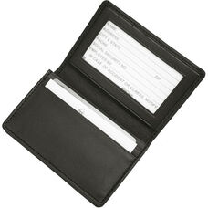 Deluxe Business Card Holder with ID Display - Top Grain Nappa Leather - Black