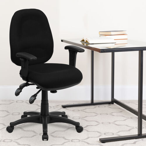 Our Mid-Back Black Fabric Multifunction Executive Swivel Ergonomic Office Chair with Adjustable Arms is on sale now.