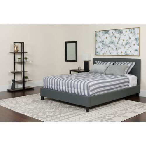 Our Chelsea Twin Size Upholstered Platform Bed in Dark Gray Fabric with Memory Foam Mattress is on sale now.