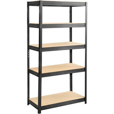 Boltless Steel and Particleboard Shelving - Black