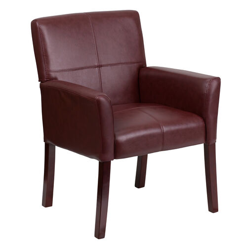 Our Burgundy LeatherSoft Executive Side Reception Chair with Mahogany Legs is on sale now.