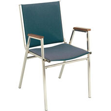 Quick Ship 400 Series Stacking Square Steel Frame Hospitality Armchair with Full Back and 1'' Upholstered Seat
