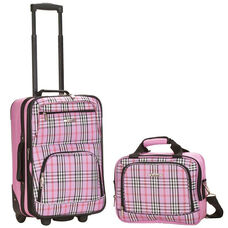 Rockland 2 Pc. Luggage Set - Pink Cross