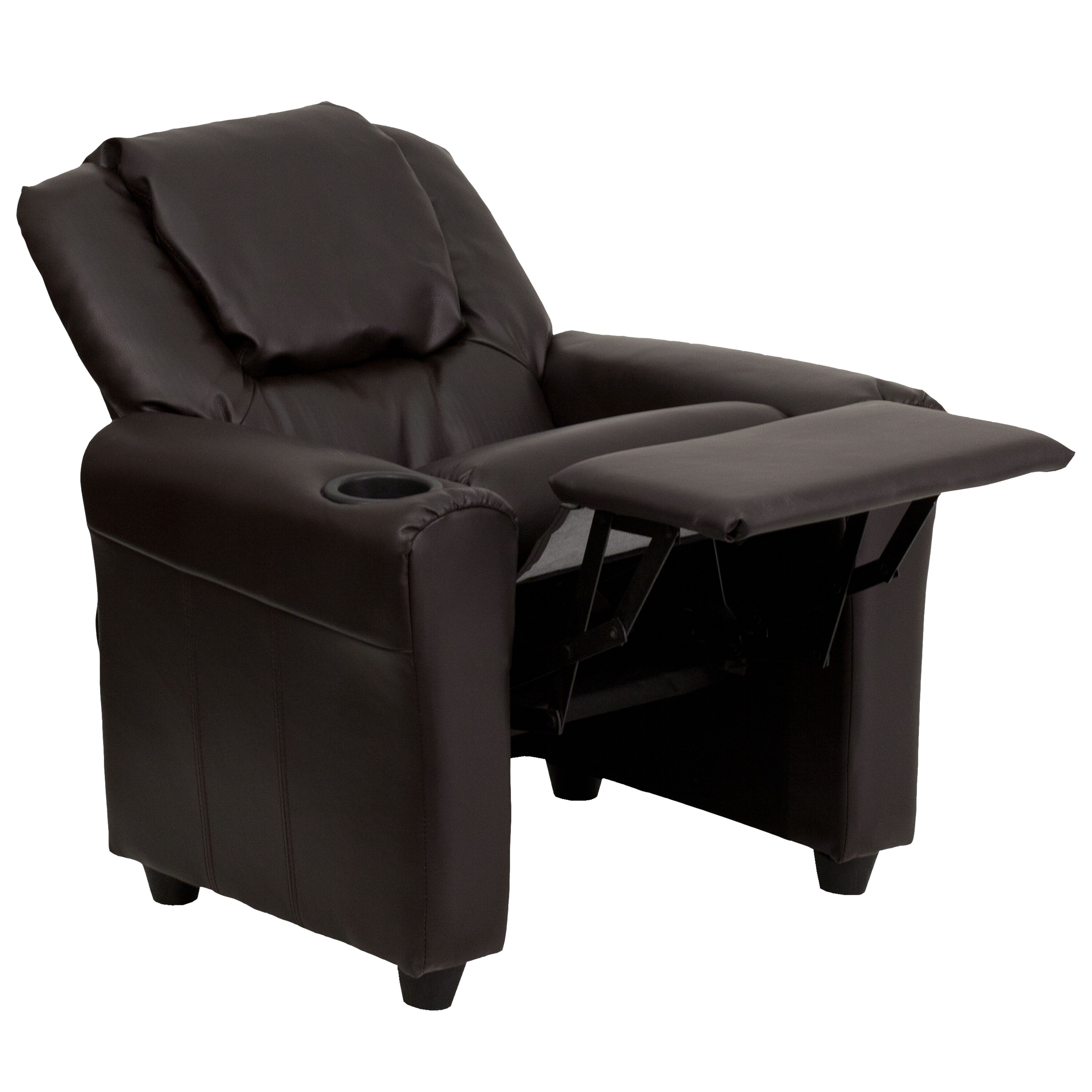 Our Contemporary Brown Leather Kids Recliner With Cup Holder And Headrest  Is On Sale Now.