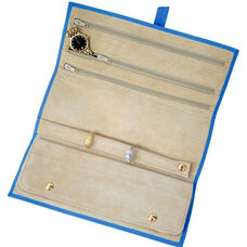 Jewelry Roll - Top Grain Nappa Leather - Ocean Blue